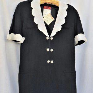 Vintage NWT Valentino NIGHT Dress Navy/White Sz 14